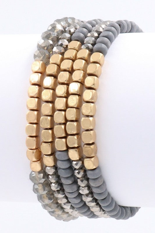 Gold Beaded Stretch Bracelet - BOMSHELL BOUTIQUE