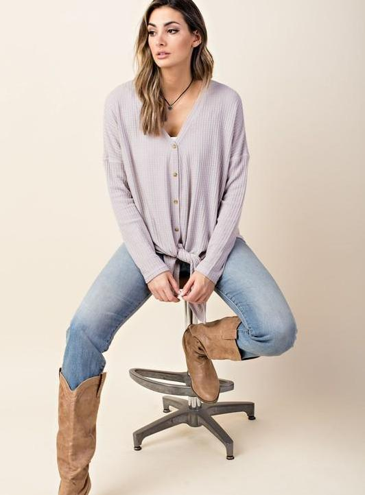 Oversized Button Down Thermal Top