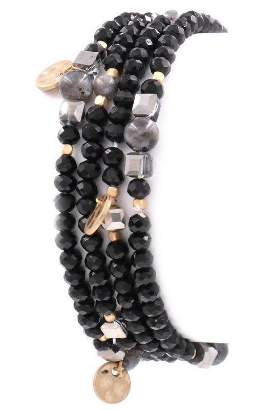 Glass and Stone Stretch Bracelet - BOMSHELL BOUTIQUE
