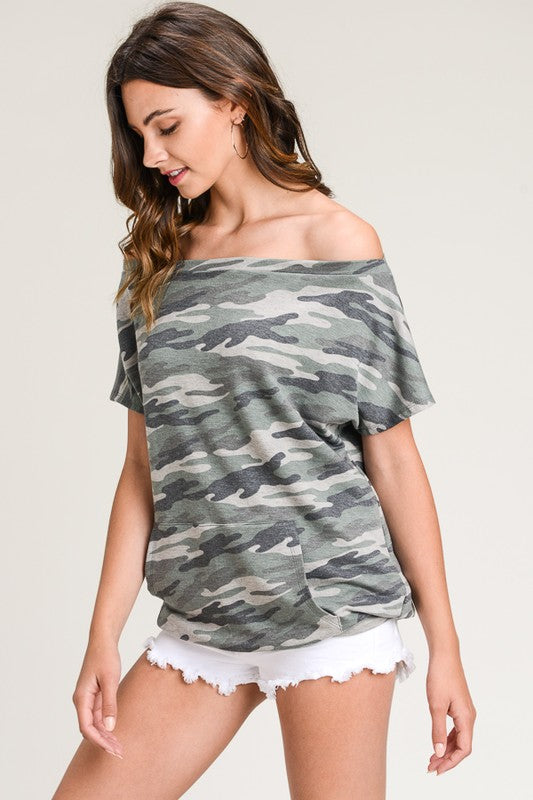 Camo Off The Shoulder Sweatshirt - BOMSHELL BOUTIQUE