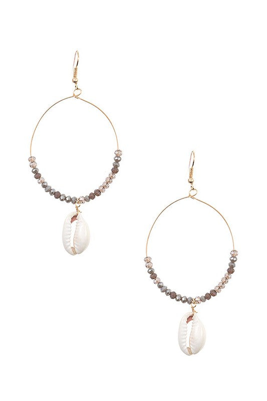Cowrie Shell Earrings - Grey - BOMSHELL BOUTIQUE
