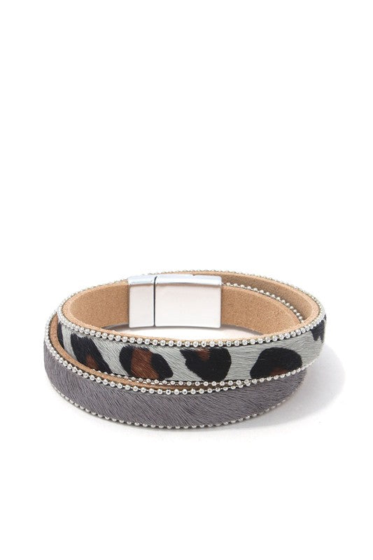 Animal Print Magnetic Bracelet Grey - BOMSHELL BOUTIQUE