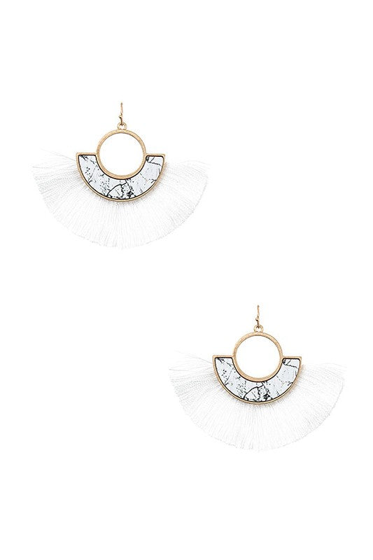 Ren Tassel Earrings - White - BOMSHELL BOUTIQUE