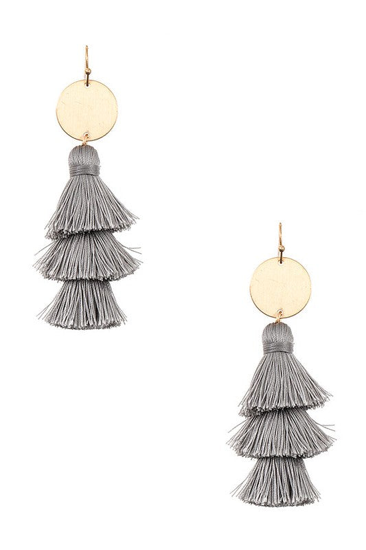 Melrose Tassel Earrings - Grey - BOMSHELL BOUTIQUE