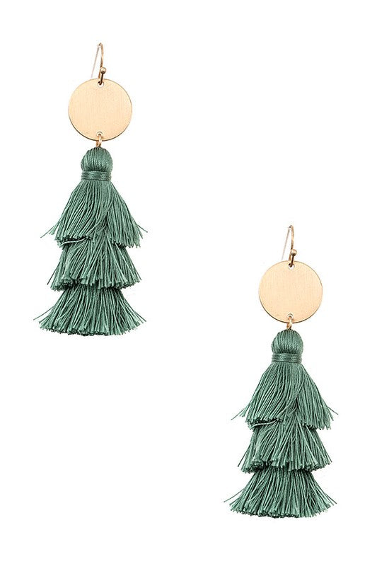 Melrose Tassel Earrings - Teal - BOMSHELL BOUTIQUE