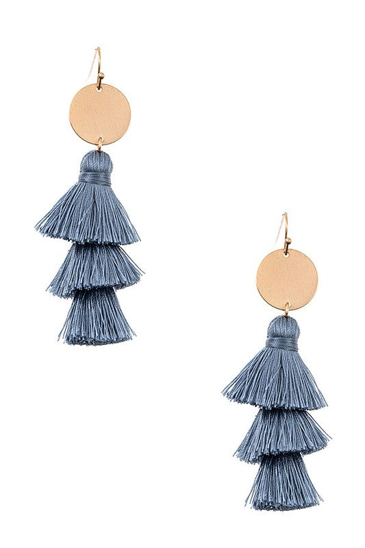 Melrose Tassel Earrings - Blue