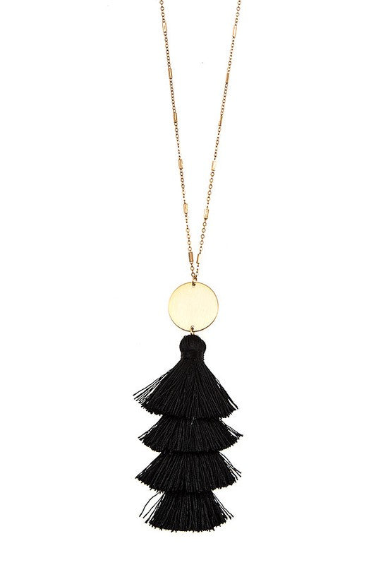 Torin Tassel Necklace - black - BOMSHELL BOUTIQUE