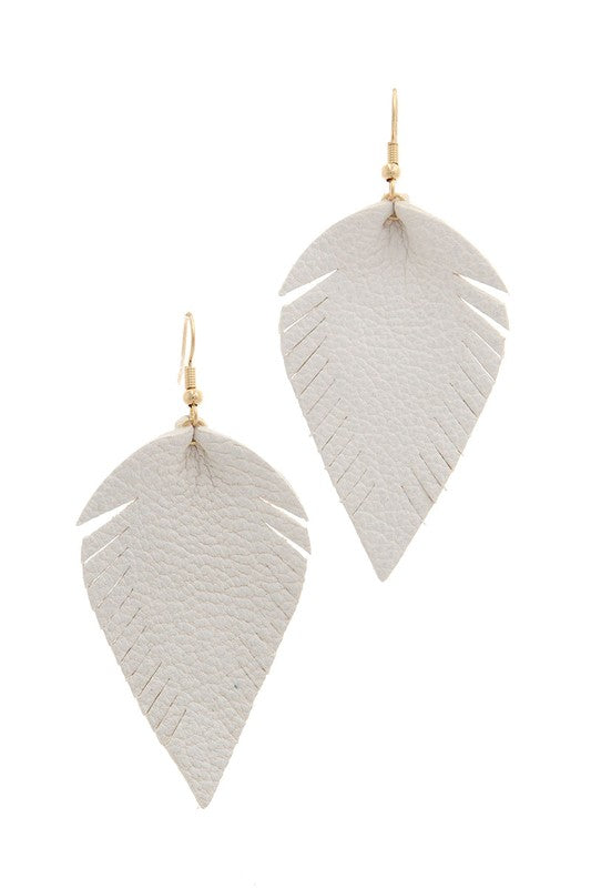 Fray Pointed Drop Earrings in White - BOMSHELL BOUTIQUE