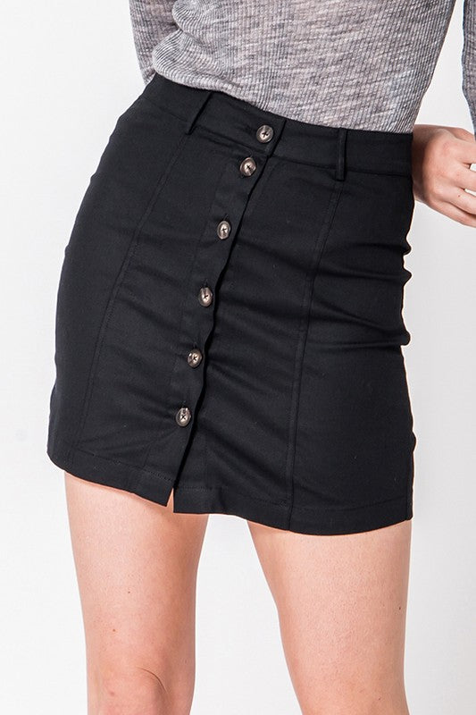 Button Front Mini Skirt In Black - BOMSHELL BOUTIQUE