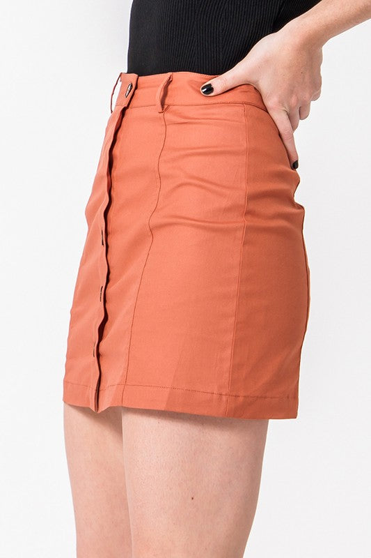 Button Front Mini Skirt In Rust - BOMSHELL BOUTIQUE