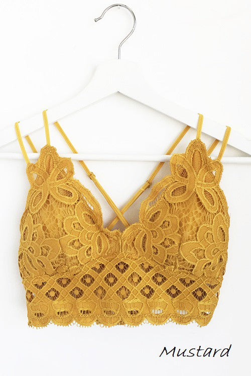 Floral Lace Bralette - Mustard