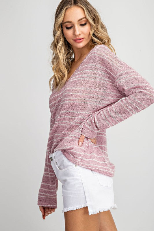 Summer Nights Stripe Sweater in Mauve - BOMSHELL BOUTIQUE