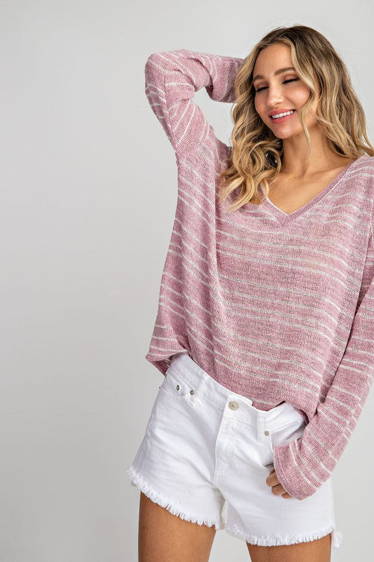 Summer Nights Stripe Sweater in Mauve