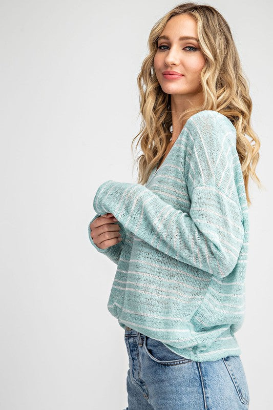 Summer Nights Stripe Sweater in Mint