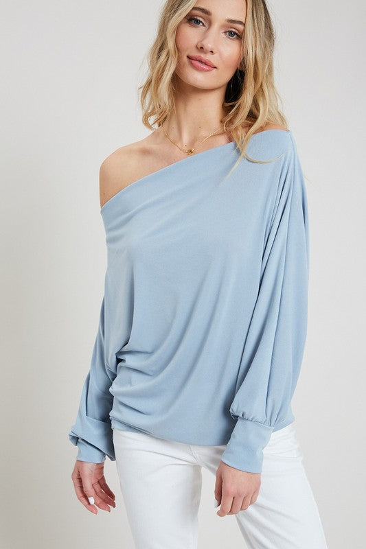 Blue Forever Off The Shoulder Top