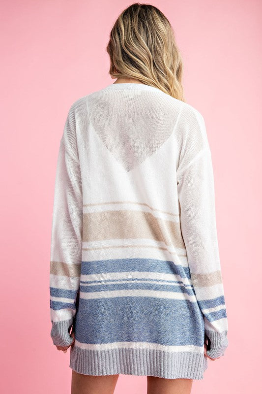Coastal Comfort Striped Cardigan