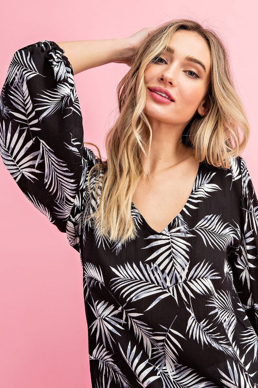 Keep Palm + Carry On Blouse in Black