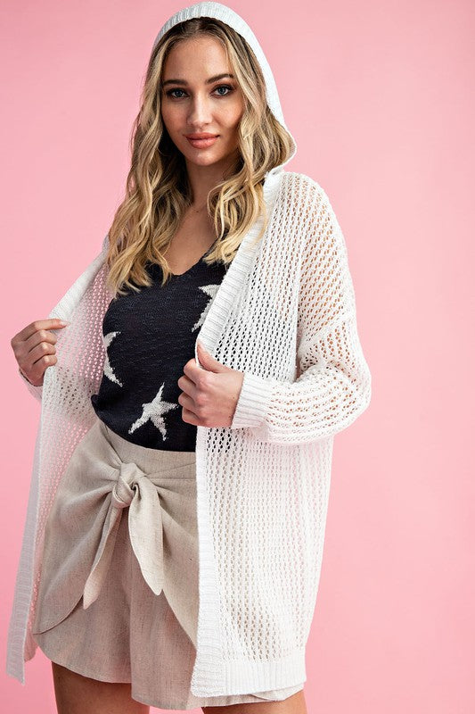 Just Chilling Hooded Cardigan in Off White