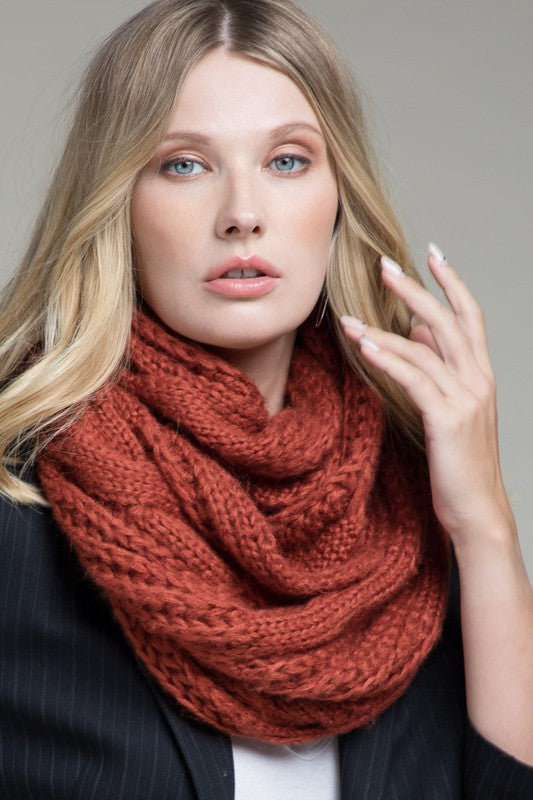 Rust Cable Knit Infinity Scarf