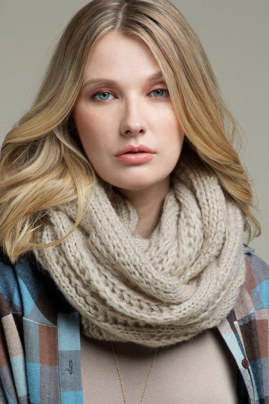 Oatmeal Cable Knit Infinity Scarf
