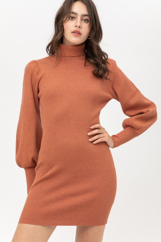 Dress Me Up Sweater Dress - Terra Cotta - BOMSHELL BOUTIQUE