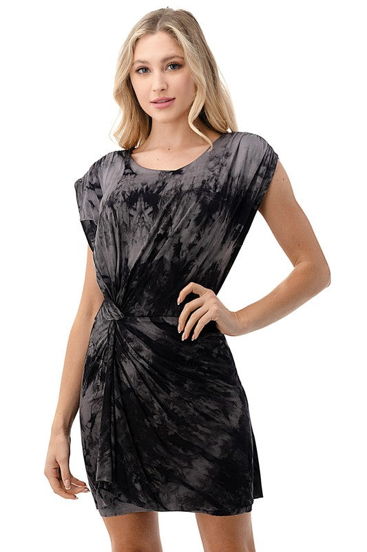 Skyla Tie Dye Dress-Charcoal