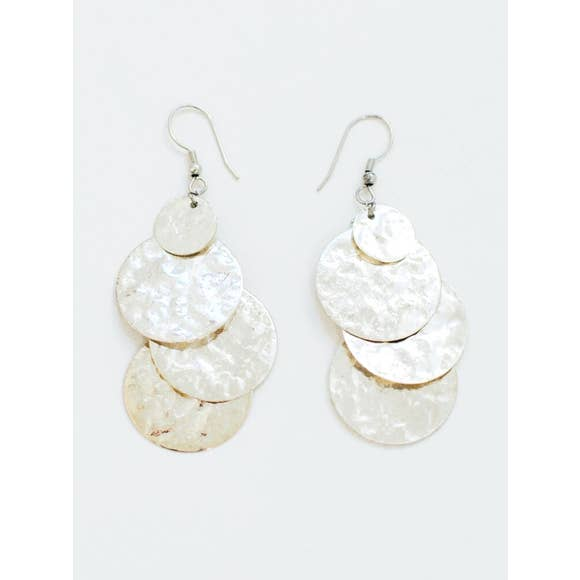 Mata Trader - Deco Discs Silver Earrings