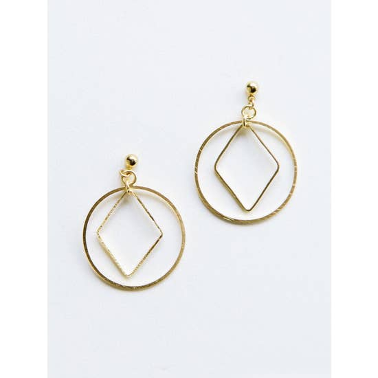 Diamond Hoop Gold Studs - BOMSHELL BOUTIQUE