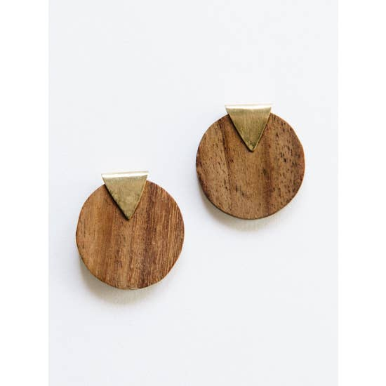 Camilla Wood Studs - BOMSHELL BOUTIQUE