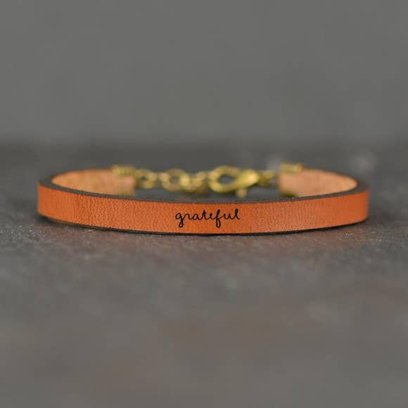 Grateful Leather Bracelet - BOMSHELL BOUTIQUE