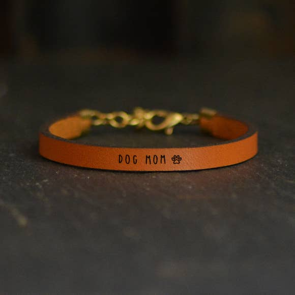 Dog Mom Leather Bracelet