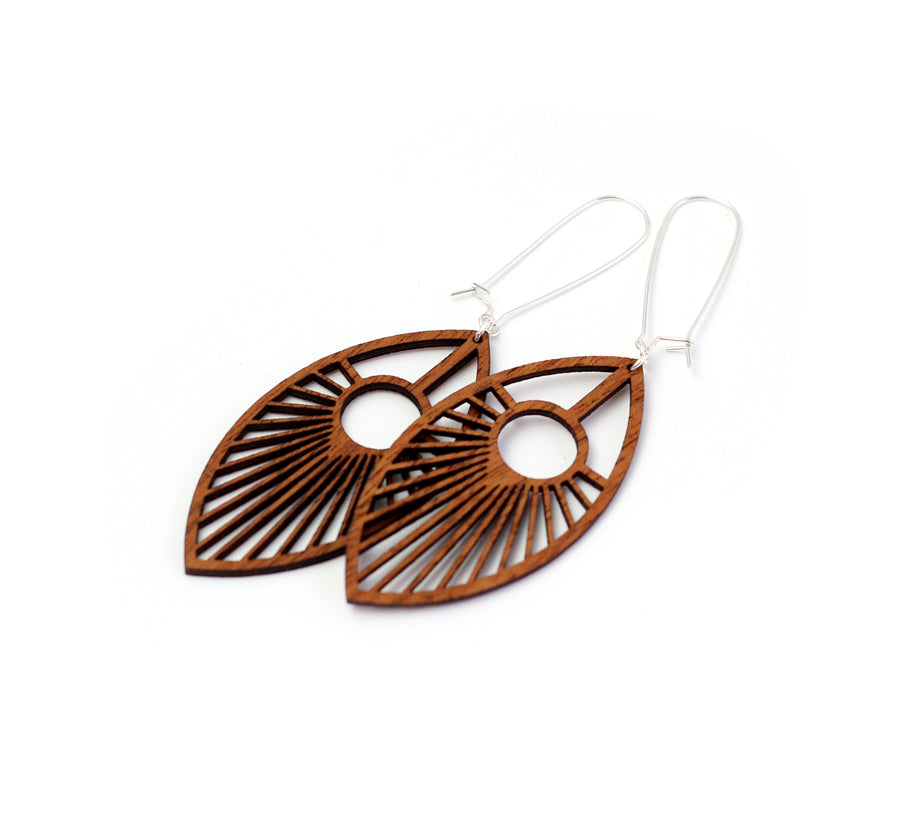 Co Kind Jewelry - Eye of the Peacock Earrings / Long  Length - BOMSHELL BOUTIQUE