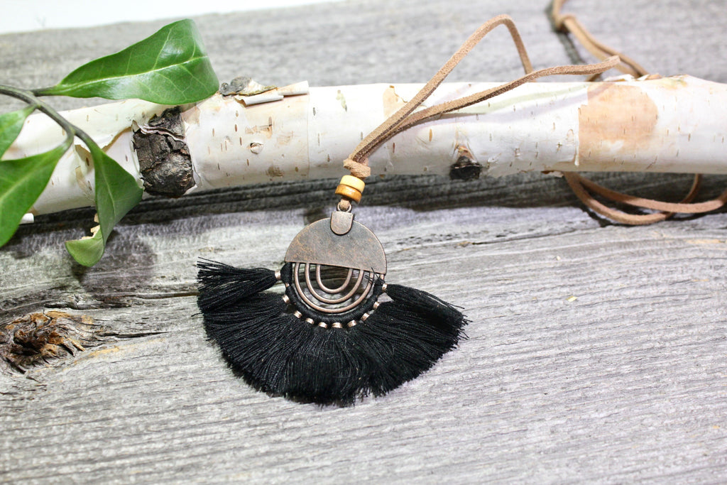 Beautifull Boundaries - Rustica Boho Necklace - Black - BOMSHELL BOUTIQUE