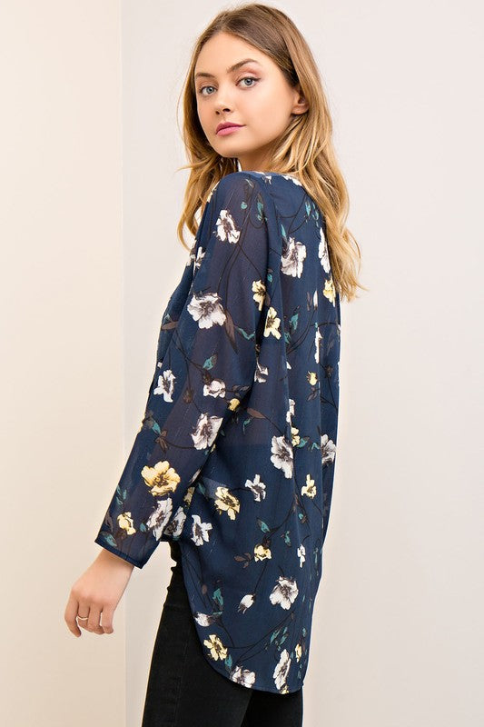 Floral Navy Wrap Top - BOMSHELL BOUTIQUE