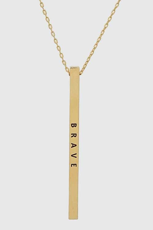 """Brave"" Bar Necklace - BOMSHELL BOUTIQUE"