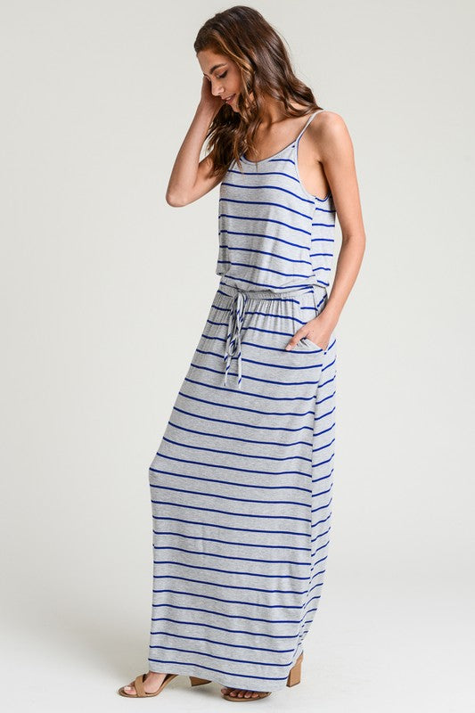 Striped Maxi Dress in Blue
