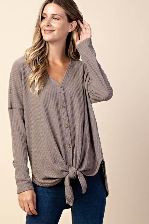 Oversized Button Down Thermal Top in Mocha