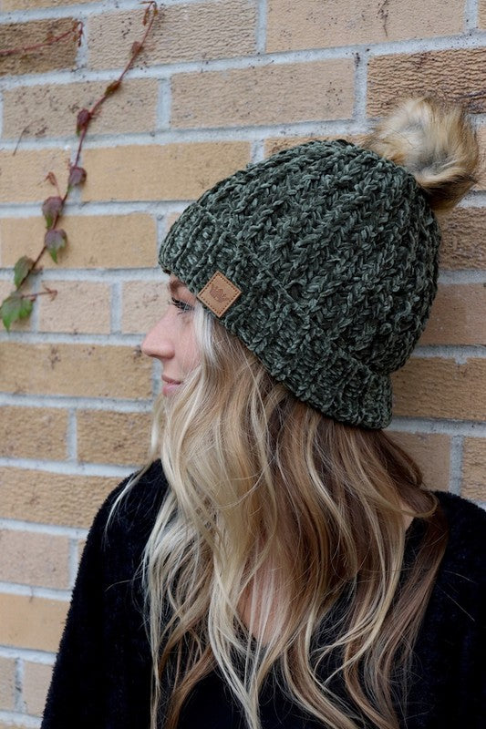 Olive Cable Knit Beanie with Faux Fur Pom Pom