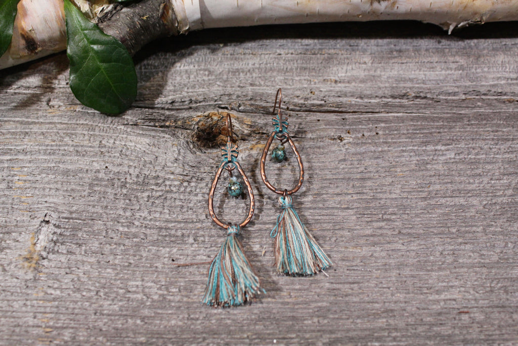 Beautifull Boundaries - Oval Boho Tassel - Turquoise - BOMSHELL BOUTIQUE