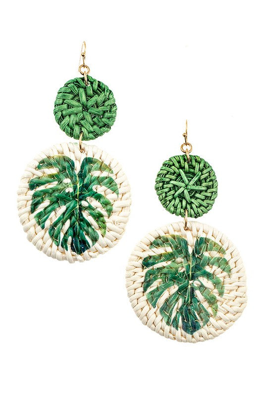 Palm Leaf Straw Earrings