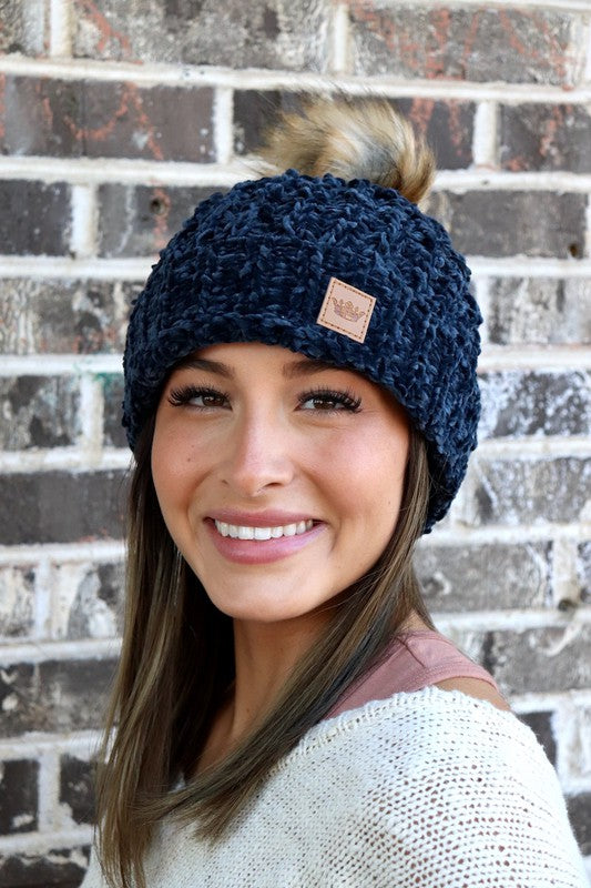 Navy Chenille Knit Beanie with Pom