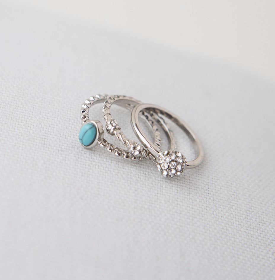Turquoise and Silver Stacked Rings