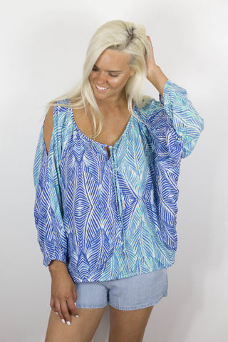 Ocean Sea Foam Printed Cold Shoulder Top