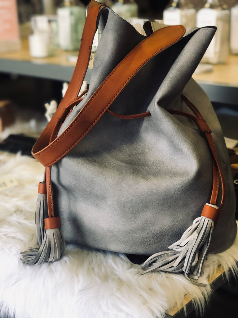 Grey Bucket Bag - BOMSHELL BOUTIQUE