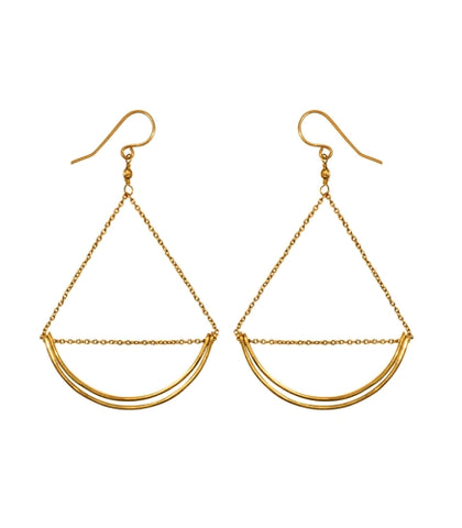 Lunette Earrings by Purpose in Brass