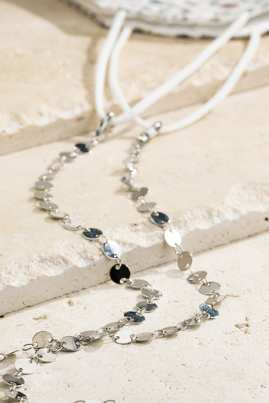 Disk Glass + Mask Chain- Silver
