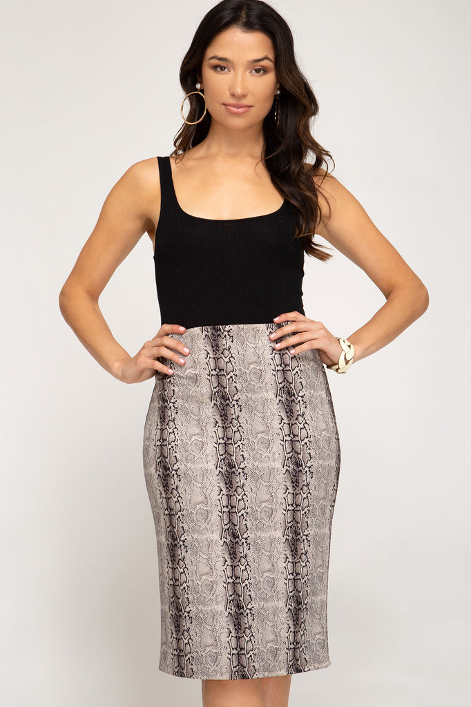 Snake It or Leave It Midi Skirt