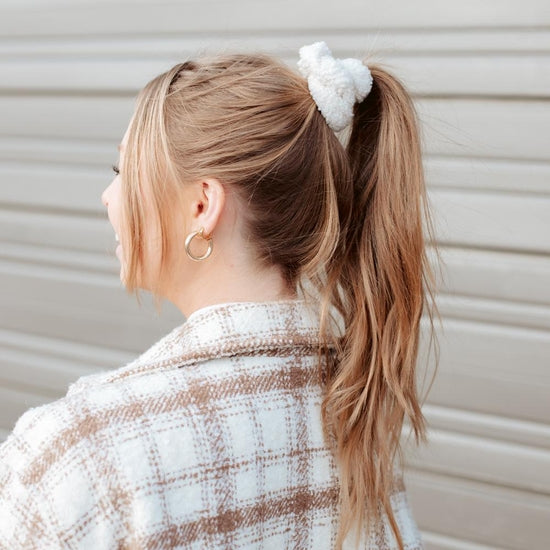 Teddy Scrunchie- White