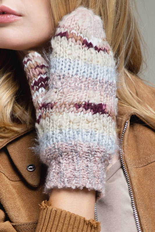 Stripe Knit Mittens- Blush