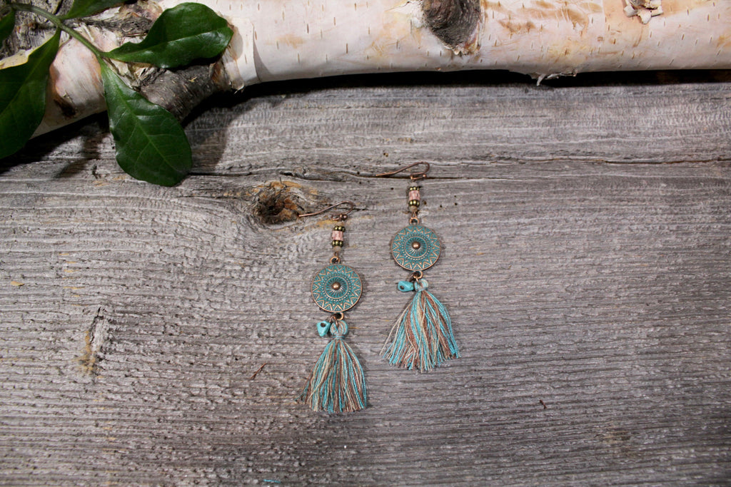 Beautifull Boundaries - Bohemian Coin Tassel Earrings - Turquoise - BOMSHELL BOUTIQUE